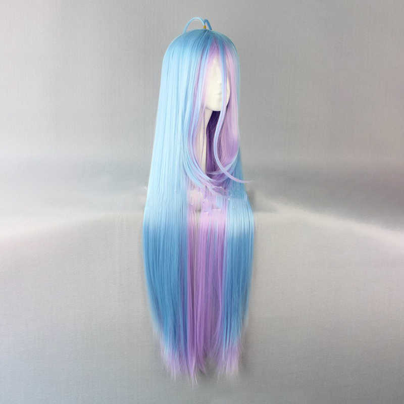 HAIRJOY Synthetic Hair  Shiro from NO GAME NO LIFE Blue Purple Mixed Long Straight Cosplay Wig Free Shipping