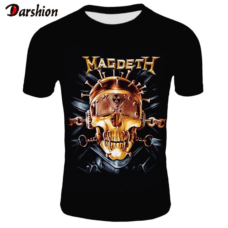 Retro Men 3D Skull T Shirt Punk Black T-Shirt Casual Men's Tshirt Magdeth Skull Print Heavy Metal Hip Hop Rock Summer Style Tee