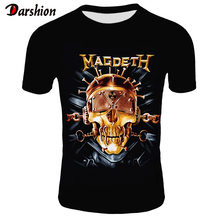 Retro Men 3D Skull T Shirt Punk Black T-Shirt Casual Mens Tshirt Megadeth Print Heavy Metal Hip Hop Rock Summer Style Tee