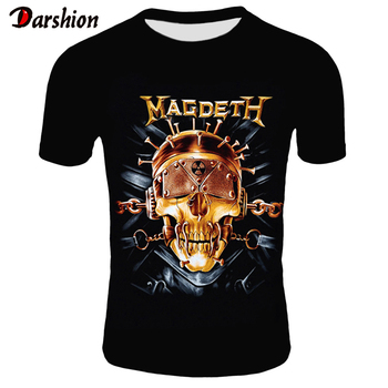 Retro Men 3D Skull T Shirt Punk Black T-Shirt Casual Men's Tshirt Magdeth Skull Print Heavy Metal Hip Hop Rock Summer Style Tee