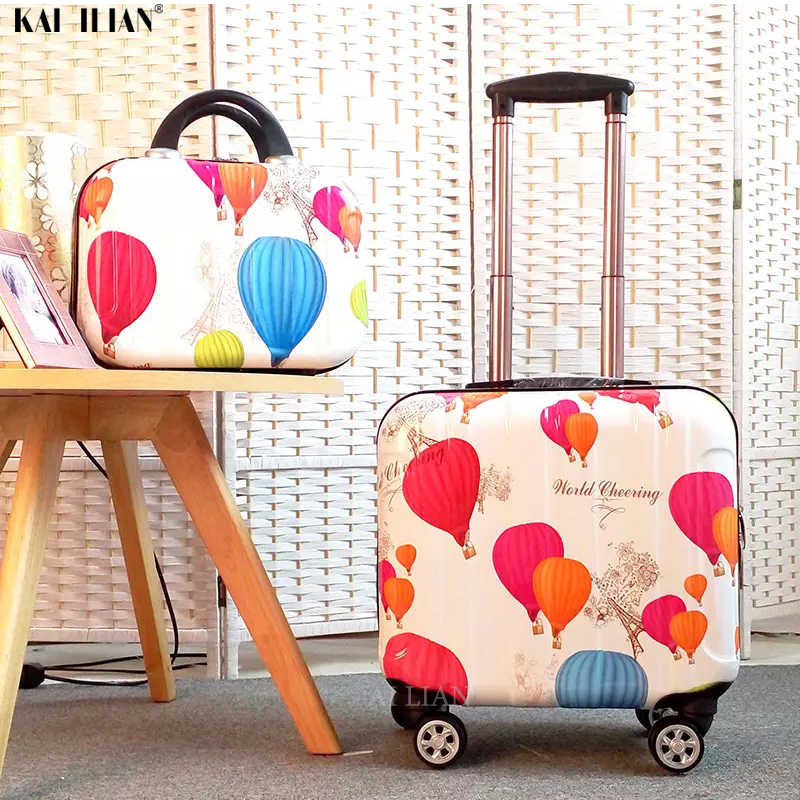 Cartoon kid's Luggage set children's Travel trolley suitcase on wheels girl's Cabin Rolling luggage 18'' carry on suitcase bag
