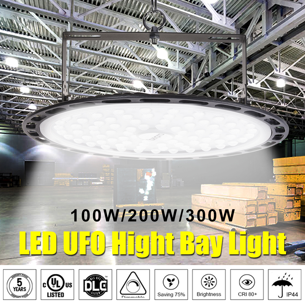UFO Led High Bay Lights 100W 200W 300W 220V Waterproof IP44 Industrial Lighting Warehouse Garage Workshop Highbay Market Airport