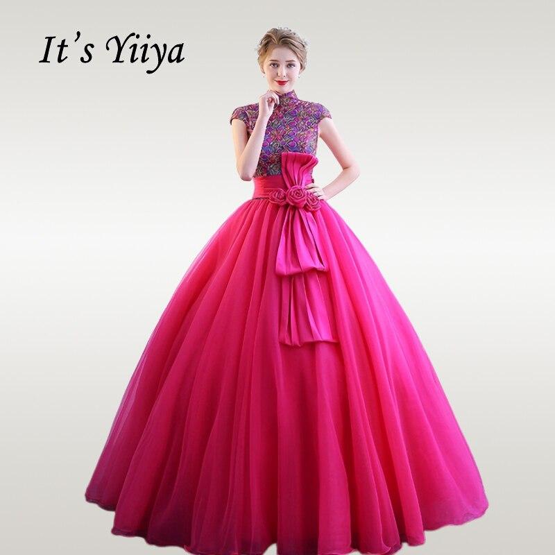 C'est YiiYa Robe De mariée brillant paillettes colorées col haut robes De mariée taille plus Rose rouge grand arc Robe De Mariee CH160