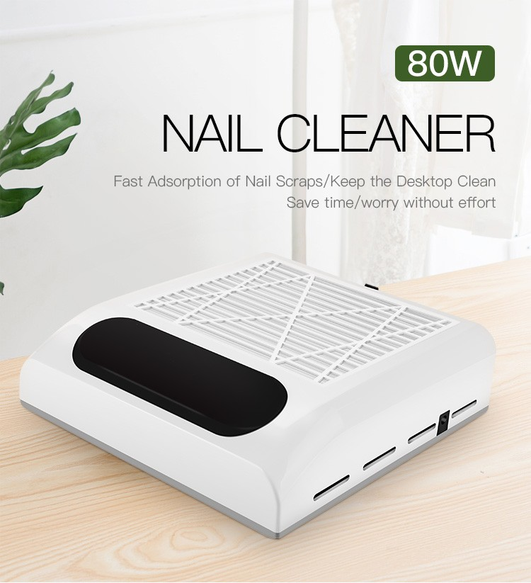 80W 110V/220V Nail Suction Dust Collector Large Size Strong Nail Vacuum Cleaner Machine Low Noisy With Salon Tool