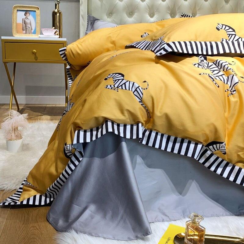 100% puro algodón 2019nuevo juego de ropa de cama de dibujos animados adorable cebra impreso amarillo edredón cubierta de Color sólido gris sábana doble reina rey - 3