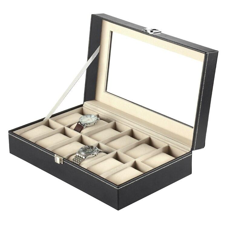 Prático 12 grade couro falso relógio caixa de exibição caso preto