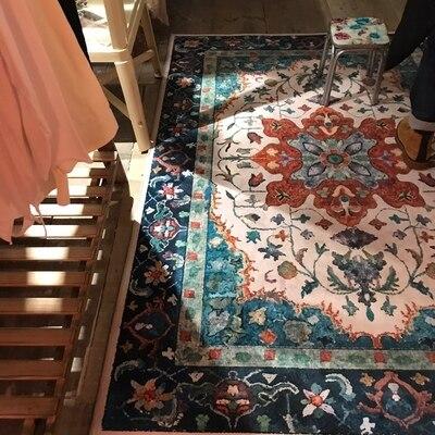 Tapis de fleur nordique pour le salon grands petits tapis mous rouges/chambre à coucher tapis Floral rose tapis de sol Table basse sont tapis - 4
