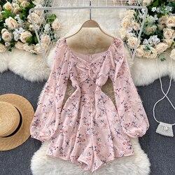 Корейская версия, новое осеннее поступление, комбинезон с v-образным вырезом платье с рукавами-фонариками складки тонкий пояс для похудения...