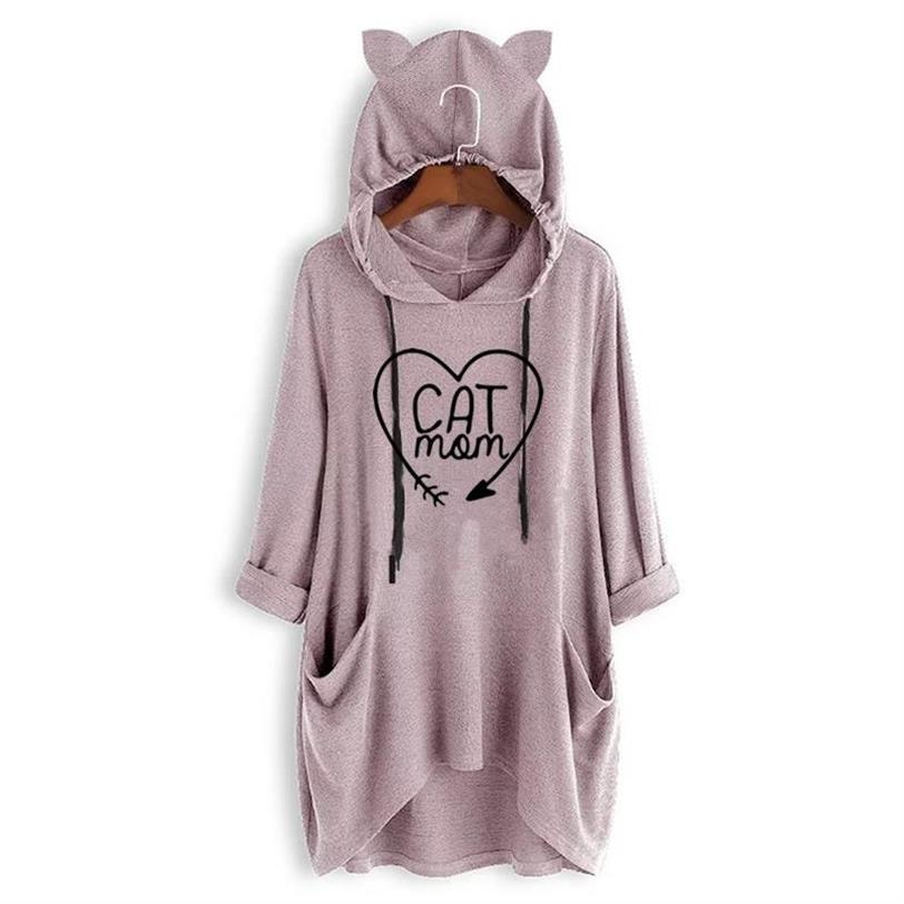 Arrival Cat Paw Letters Print T Shirt For Women Mid Sleeve Hooded T Shirt T Shirt Tops Plus Size Summer Off The Shoulder Cute in T Shirts from Women 39 s Clothing