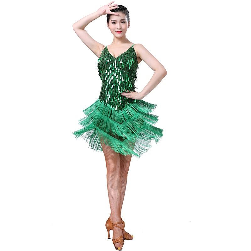 Ladies Latin Dance Dress Flapper Dresses Charleston Gatsby Party Tassel Fringes Sequin Dancing Competition  Free Shipping