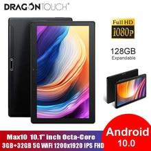Toque do dragão 10.1 polegada android 10.0 tablet max10 fhd ips 5g wifi octa-core 3gb ram 32gb tabuletas usb tipo c porto toque tablet pc