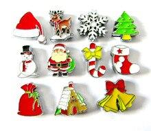 Christmas Series Slide Charms Santa tree  Elk Gift Sock Snowman Snowflake For DIY Bracelet Keychain
