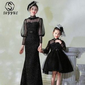 Skyyue блестящее вечернее платье для родителей и детей, черные Лоскутные вечерние платья FB158, платья для мам и дочек с длинным рукавом и высоким...