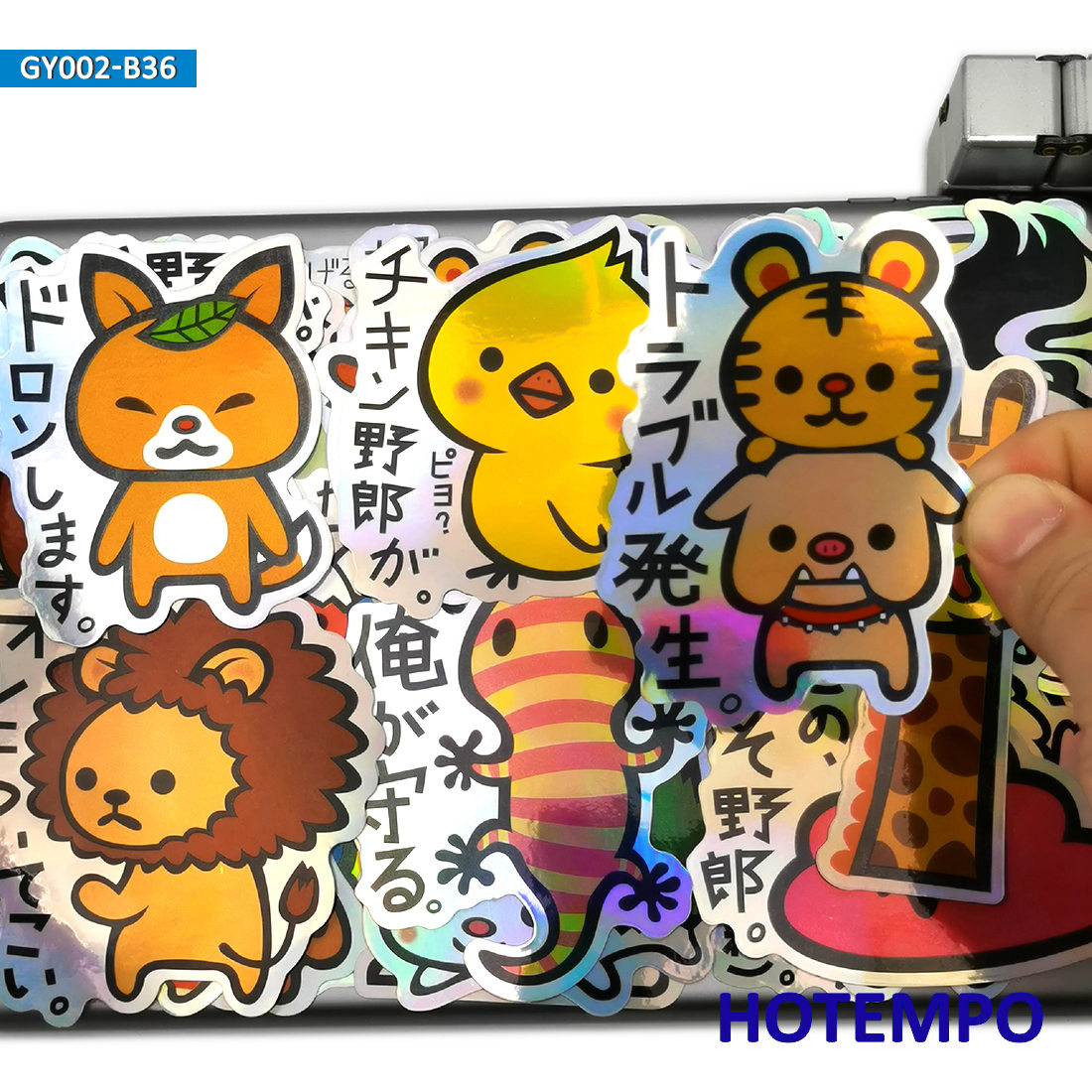 36pcs Cute Cartoon Funny Animal Laser Style Japanese Tsukkomi Stickers for Mobile Phone Laptop Suitcase Car Anime Decal Stickers