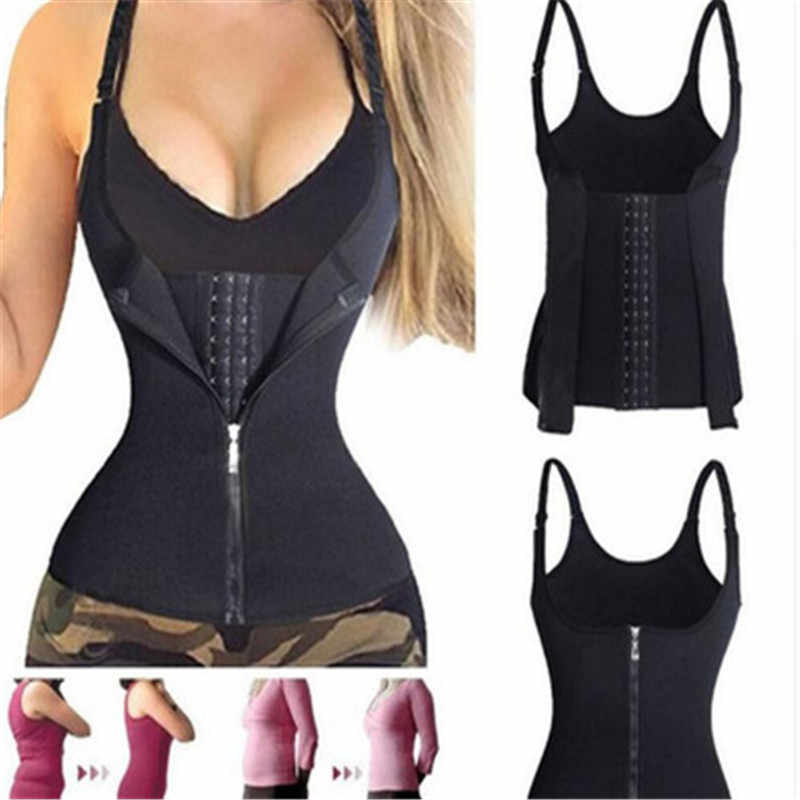 Women Slimming Waist Trainer Corset Zipper Vest Body Shaper Shapewear With Adjustable Straps Waist Weight Loss For Sauna Yoga