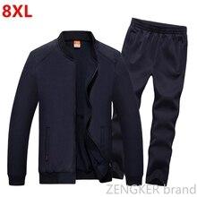 Erkek büyük boy takım elbise artı boyutu eşofman bahar spor büyük boy erkek eşofman 8XL 7XL 6XL Jogger takım elbise erkekler için kıyafet