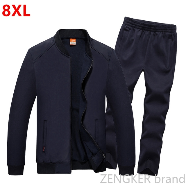 Mens Big Size Suit Plus Size Sweat Suit Spring Sportswear Large Size Mens Tracksuit 8XL 7XL 6XL Jogger Suits for Men Outfit