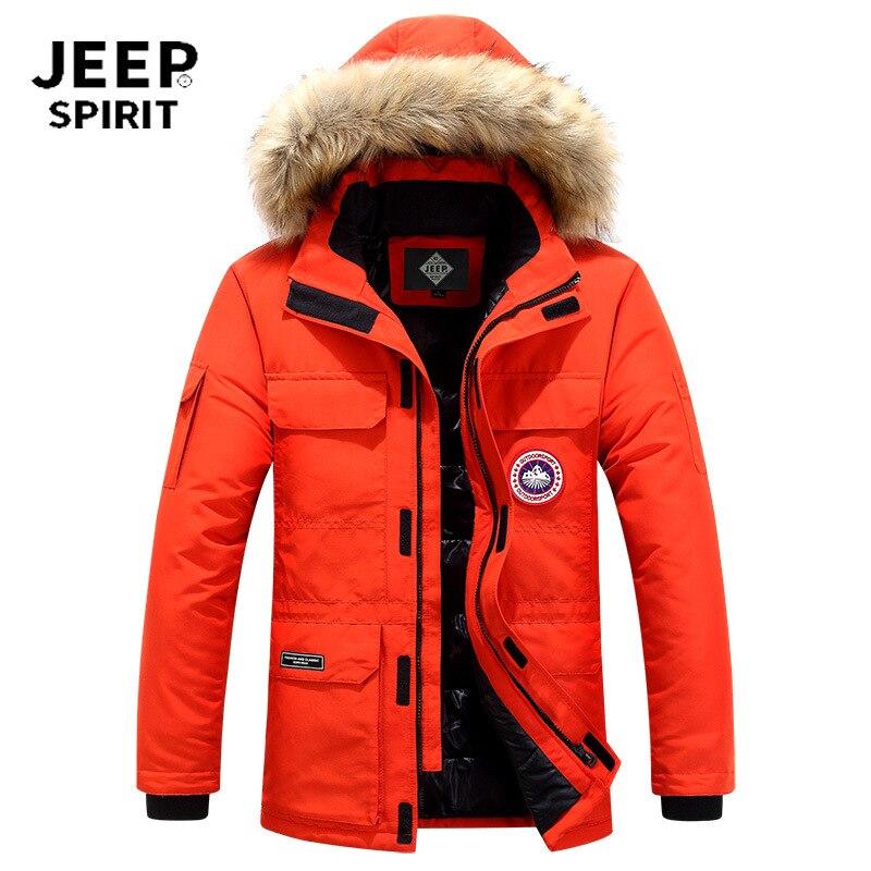 JEEP SPIRIT Winter Jacket Men Down Parkas Coat White Duck Down Parka Hombre Thick Warm Fur Hooded Windbreaker Men Snow Coat 6XL