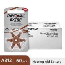 Nieuwe 60 pcs/10 card Rayovac Extra 1.45V Prestaties Hoortoestel Batterijen. Zink Air 312/A312/PR41 Batterij voor CIC hoortoestellen