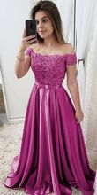 Off The Shoulder Satin Long Prom Dresses Candy Color Women Formal Evening Dress With Short Sleeves  vestido de gala purple off the shoulder bell sleeves mini dresses with belt