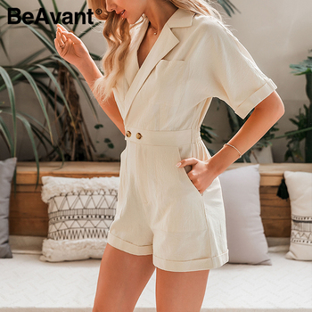 BeAvant Solid Beige Women Short jumpsuit romper High Waist Casual Playsuit Cotton Female Spring summer V Neck Sexy overalls 2020 4