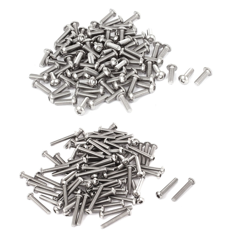 200 Pcs 0.5Mm Pitch Stainless Steel Hex Socket Button Head Screws, 100 Pcs <font><b>M3X10Mm</b></font> & 100 Pcs M3X20Mm image