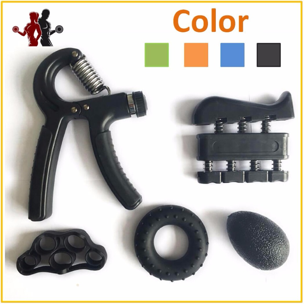 5 Pieces Hand Grip Trainer Set Finger Resistance Band Rubber Ring Adjustable 5-60KG Heavy Grips Fingers Exerciser Ball