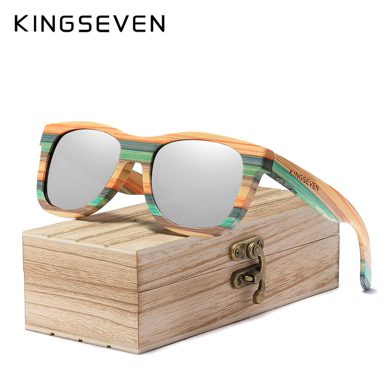 KINGSEVEN 2020 Retro Bamboo Sunglasses Men Women Polarized Mirror UV400 Sun Glasses Full Frame Wood Shades Goggles Handmade