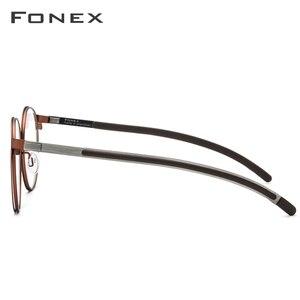Image 3 - Fonex 合金光学処方眼鏡男子レトロラウンド近視眼鏡フレームの女性 2019 メタルフルリムネジなし眼鏡 984