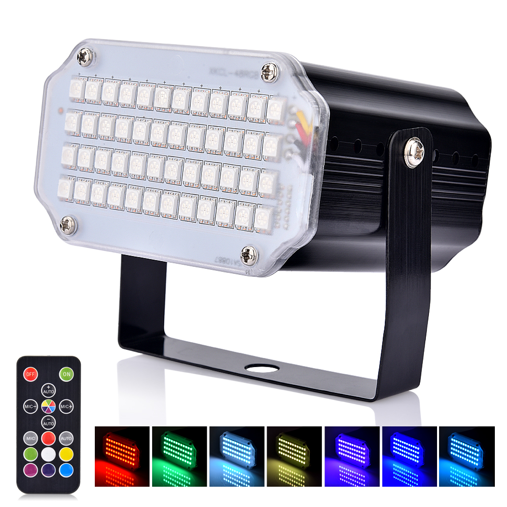 Stage Light 48 RGB LED Strobe Light Remote Control Sound Activated Flash Light For Disco Dance Party Christmas Wedding Festival