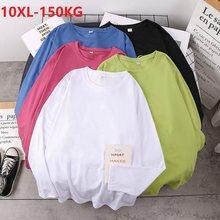 T-shirt à manches longues pour femmes, sous-vêtements en coton de style coréen, t-shirts grande taille 8XL 9XL 10XL, hauts surdimensionnés amples 150KG 56 58 70