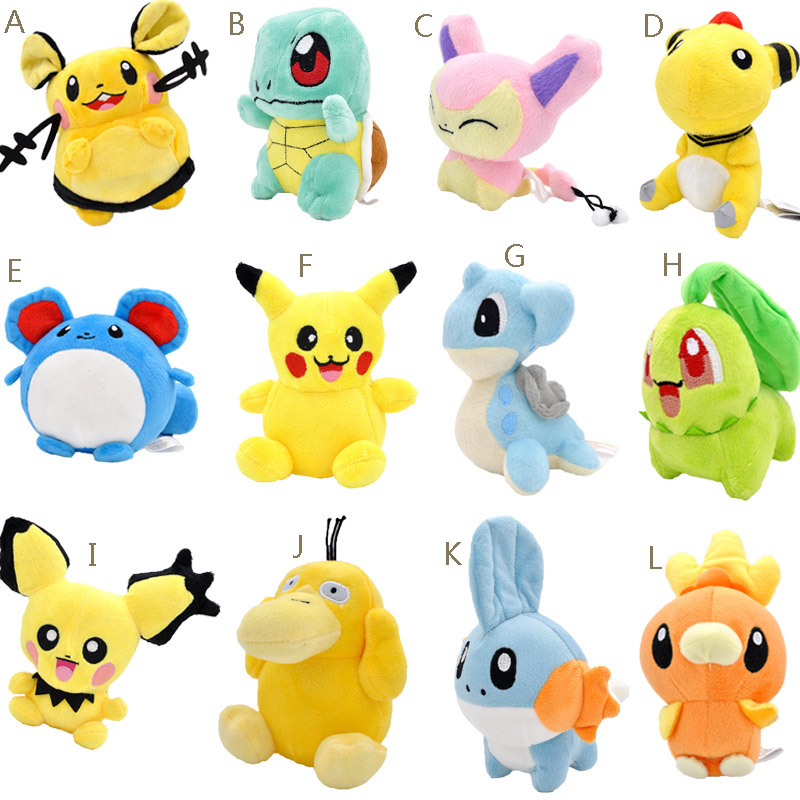 20 Styles 10-18cm  Peluche Pikachu Plush Toy Ampharos Squirtle Psyduck Chikorita Cute Soft Stuffed Dolls For Kids Christmas Gif