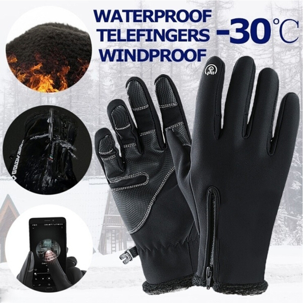 Unisex Winter Warm Gloves Thermal Outdoor Sports Waterproof Windproof Riding Gloves Touch Screen Induction Full Finger Glove