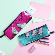 2019 new student pencil mermaid bi-color sequin DIY storage bag