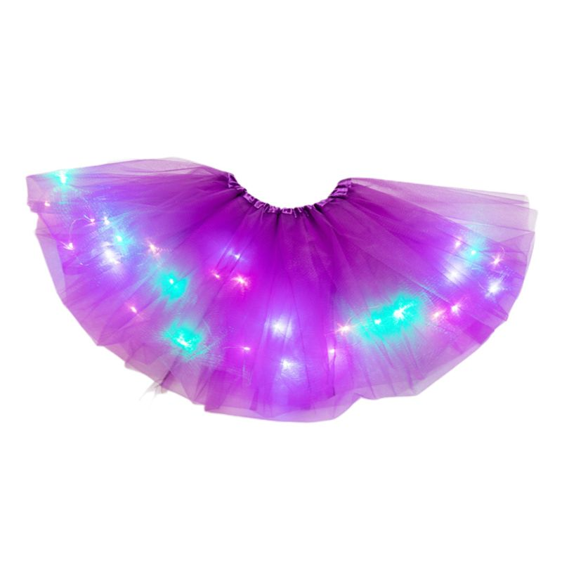 14 Colors Women Star Sequins Tutu Skirt LED Light Up Neon Colorful Stage Dance Wear Party Cosplay Short Dress