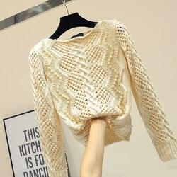 Пуловер с бусинами и бусинами, свитер для женщин, сезон весна-осень, свитеры для девочек, Женский соблазнительный обтягивающий вязаный свит...