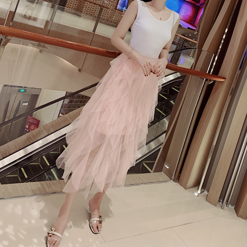 New Style Wave Irregular Layered Cake Dress Gauze Puffy Skirt High-waisted Fairy Long Skirts