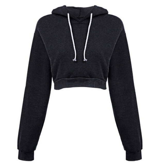 Ms. Sweatshirts Autumn Hooded Long Sleeve Hooded Pullovers Casual Drawstring Hoodie Pullovers Short Crop Top with Long Sleeves 4