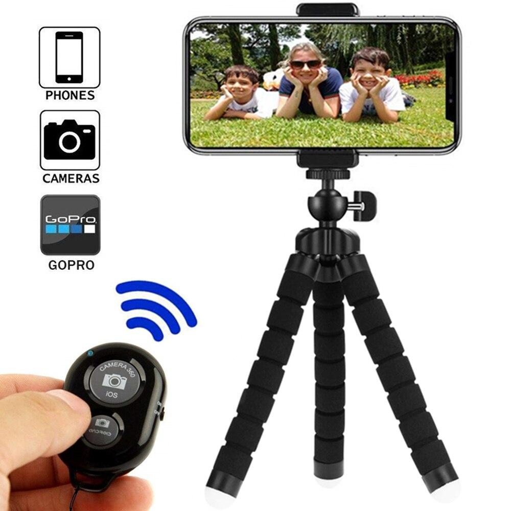 Trípode de Smartphone para trípode de teléfono para trípode monopié móvil para soporte de cámara Selfie Stick Bluetooth Disparador remoto