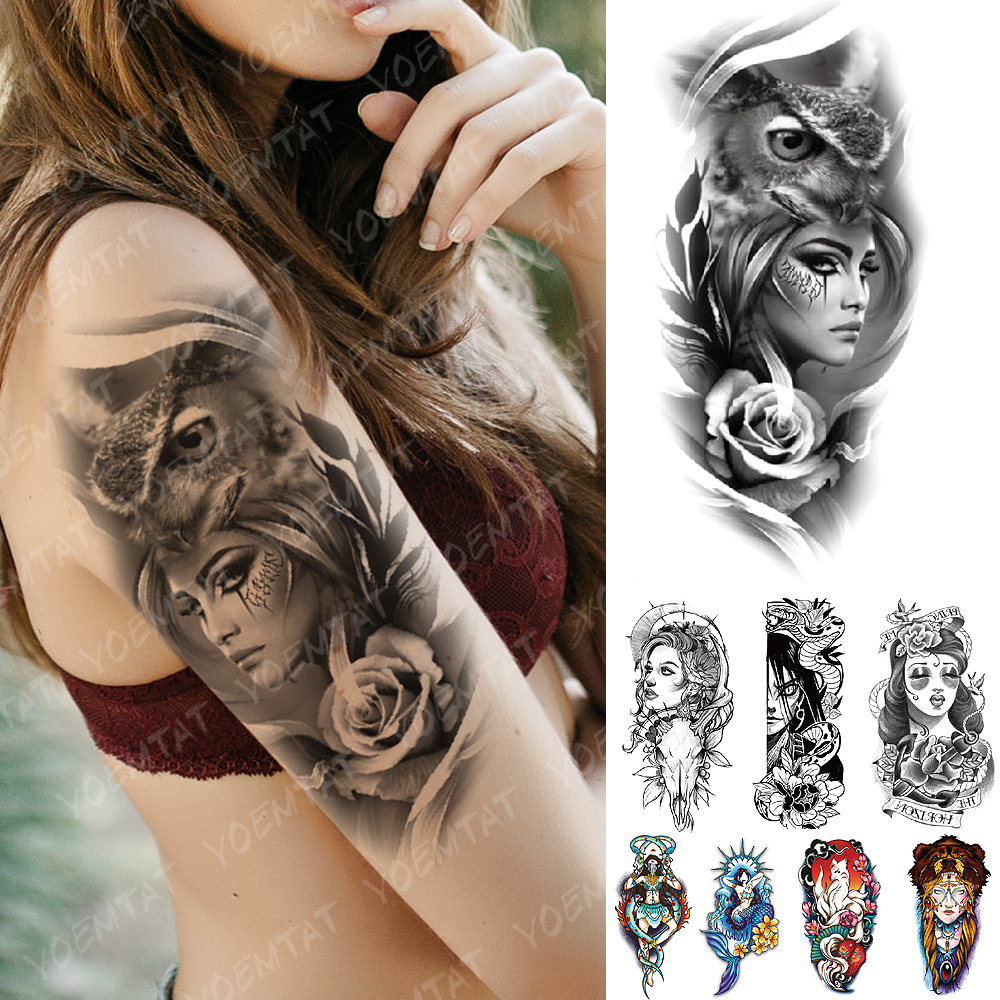 Waterproof Temporary Tattoo Sticker Old School Owl Rose Goat Flash Tattoos Anchor Mermaid Body Art Arm Fake Tatoo Women Men
