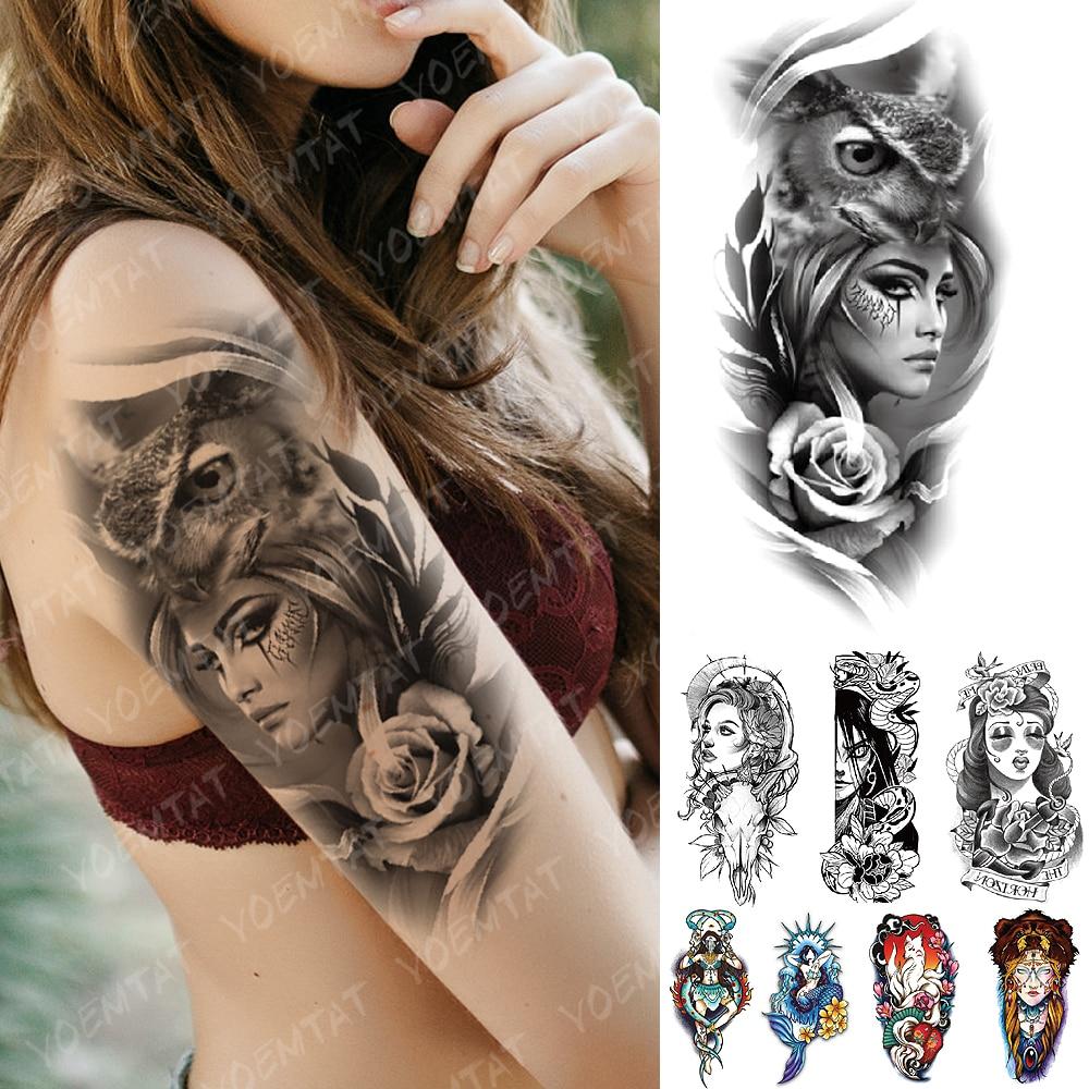 Waterproof Temporary Tattoo Sticker Old School Owl Rose Goat Flash Tattoos Anchor Mermaid Body Art Arm Fake Tatoo Women Men