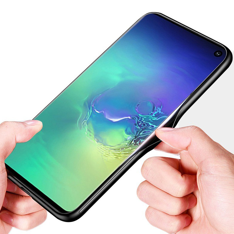Silicone Glass Case For Samsung S10 S10e S10 Plus Tempered Glass Back Cover For Samsung Galaxy S10 e S10 Plus Phone Case in Fitted Cases from Cellphones Telecommunications