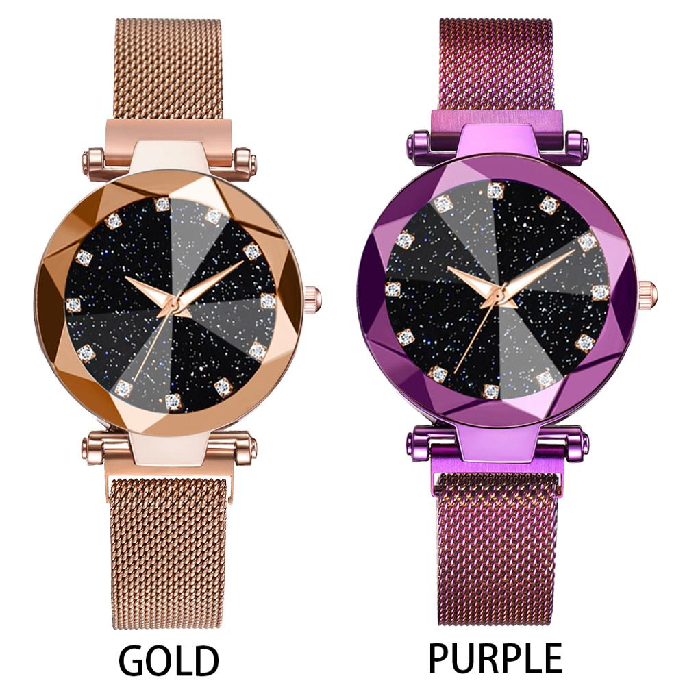 2pcs Watch Set Luxury Women Bracelet Starry Sky Magnetic Quartz Clock Geometric Surface Casual Women Dress Quartz Wristwatch