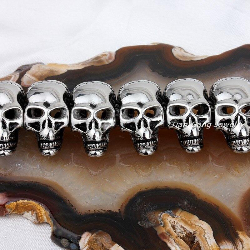 Crâne collier hommes en acier inoxydable squelette bijoux chaînes sur le cou rétro crâne longue chaîne collier gothique hip hop mode