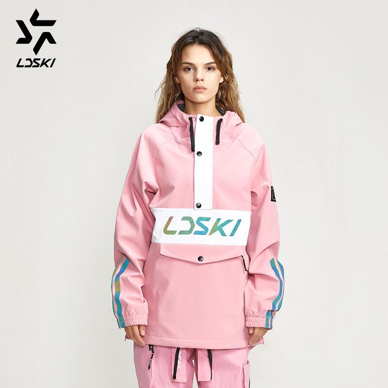 LDSKI Ski Hoodie Jacket Waterproof Fabric Warm Urban Street Stylish Outfit Front Pocket Pullover