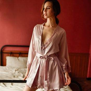 new sexy woman Lingerie deep V sling silk summer sleepwear comfortable solid color nightgown nightdress suit