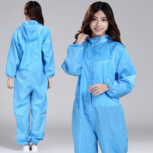 Work Clothes Anti-static One-piece Hooded Cleanness Clothing Food Machinery Electronic Cleanroom Garment Work Wear