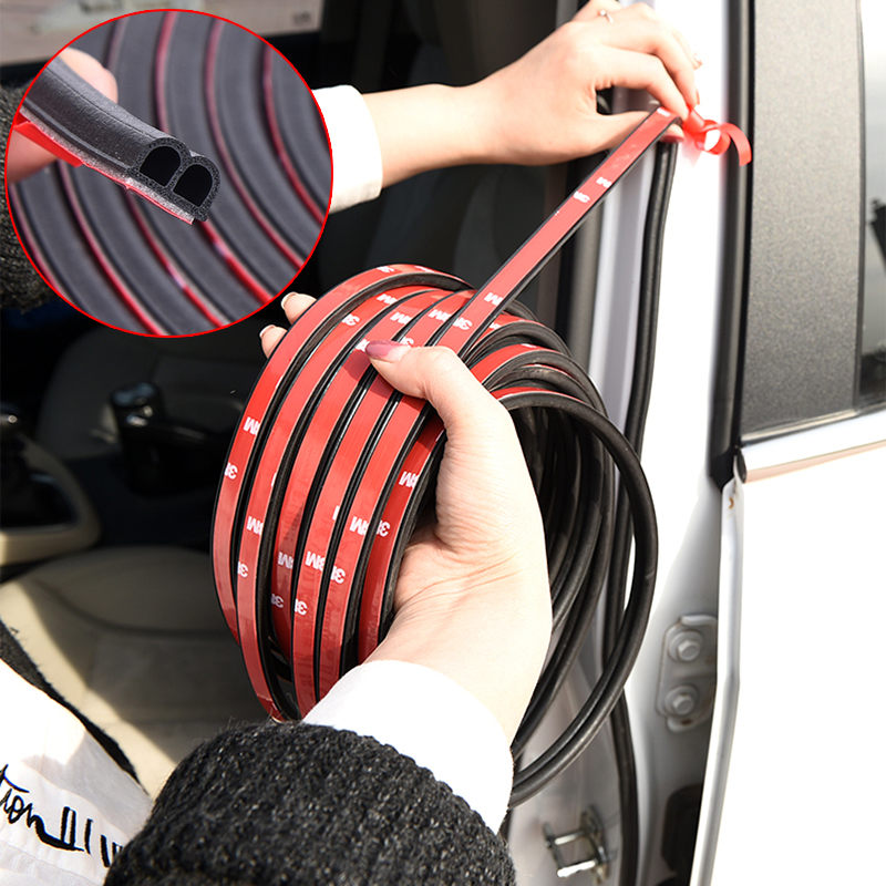 Car Styling 1 Meter Rubber Car Door Seal Strips Sticker Trunk Soundproofing Waterproof Sealing Sticker Car Universal Accessories