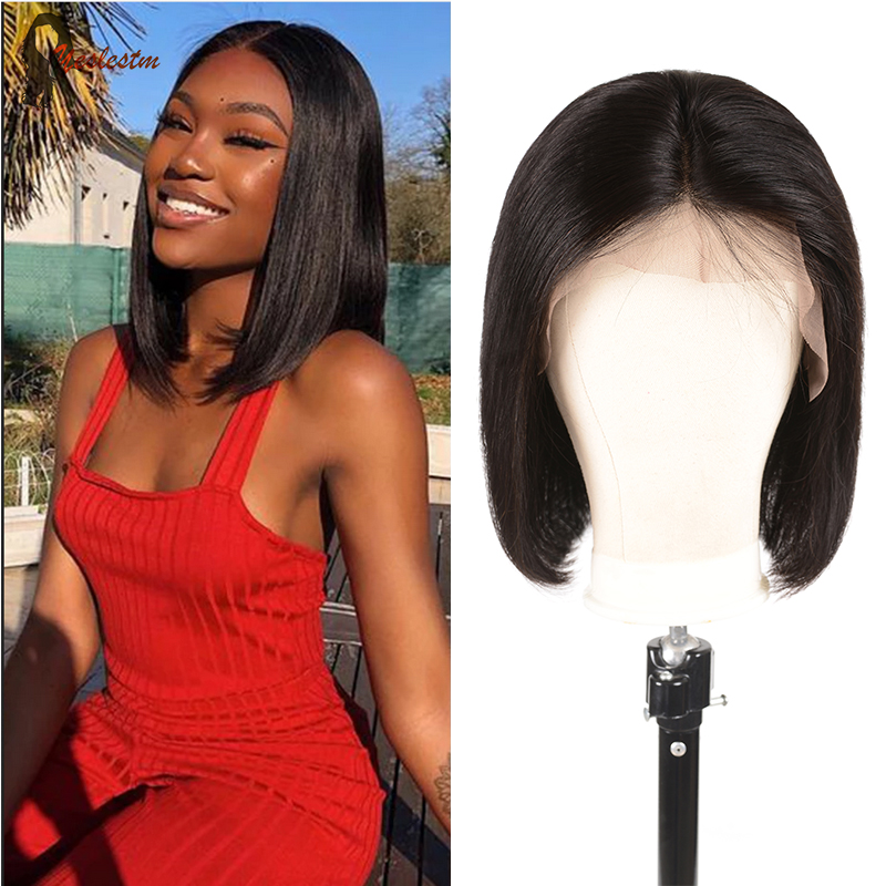 Yeslestm Straight Bob Wig Brazilian Middle Part  Lace Wig Human Hair Wigs For Women 4X4x1 T Part Lace Wig Straight Lace Closure