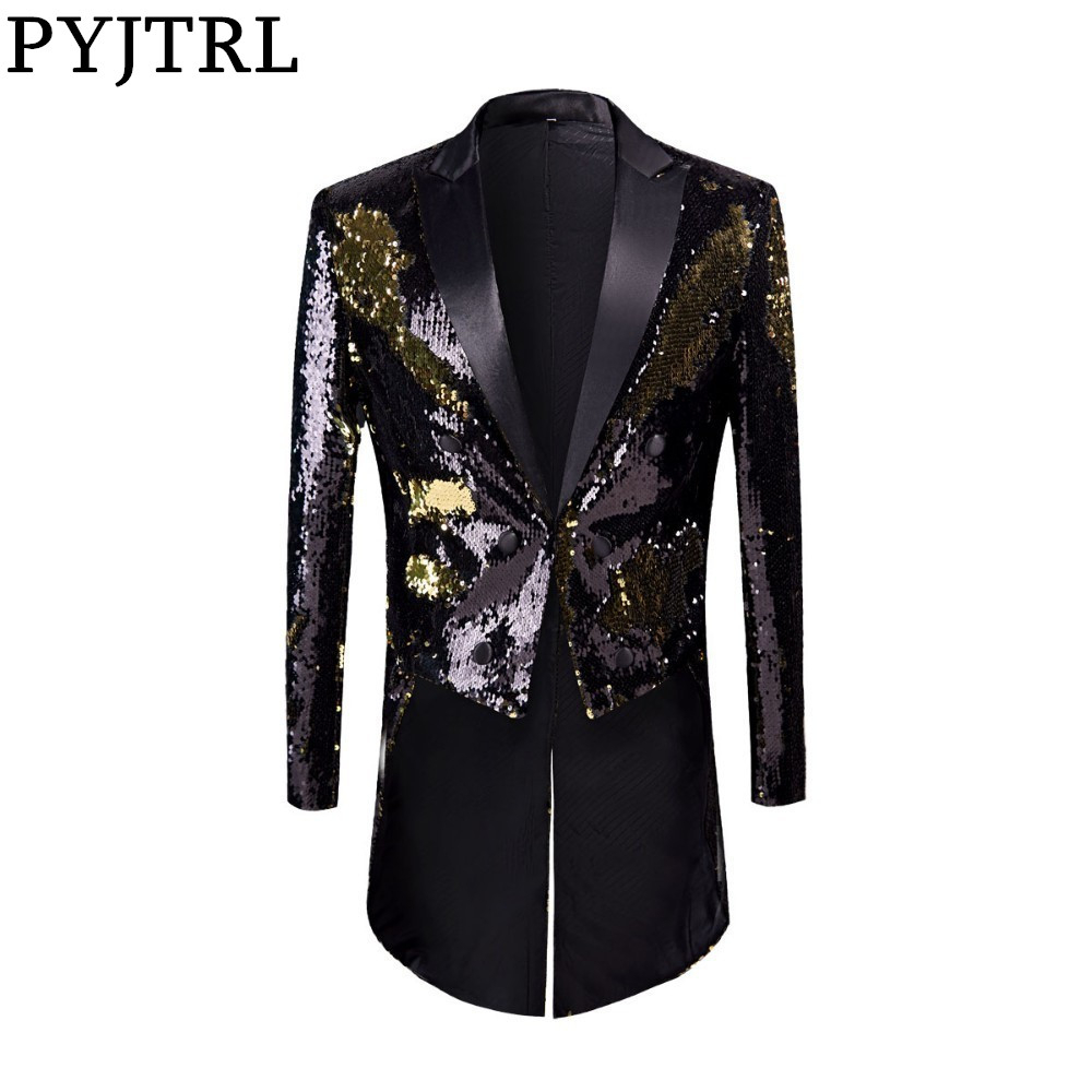 PYJTRL Full Sequins Series Male Fashion Gold Black Double-Color Sequins Tailcoat Stage Singers Wedding Grooms Tuxedo Blazer Coat
